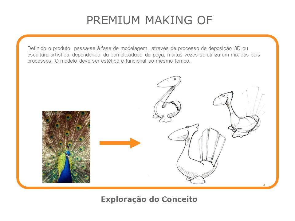 PREMIUM MAKING OF Exploração do Conceito Definido o produto, passa-se à fase de modelagem, através de processo de deposição 3D ou escultura artística,