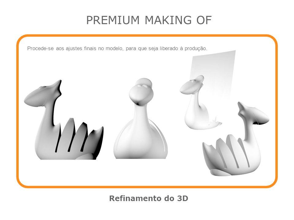 PREMIUM MAKING OF Refinamento do 3D Procede-se aos ajustes finais no modelo, para que seja liberado à produção.