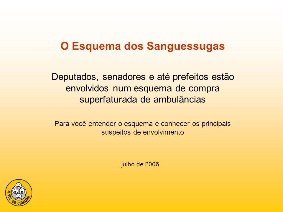 O Esquema dos Sanguessugas Deputados, senadores e até prefeitos estão envolvidos num esquema de compra superfaturada de ambulâncias Para você entender