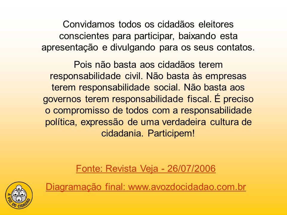 Fonte: Revista Veja - 26/07/2006 Diagramação final: www.avozdocidadao.com.br Convidamos todos os cidadãos eleitores conscientes para participar, baixa