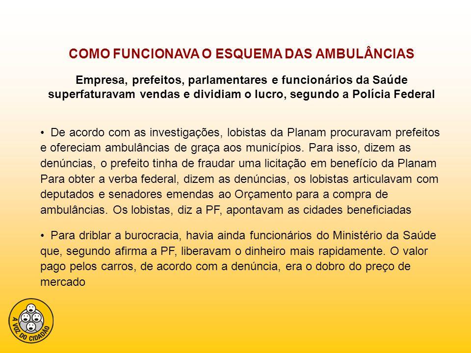 Os prefeitos, segundo diz a PF, recebiam a verba federal e pagavam à Planam.