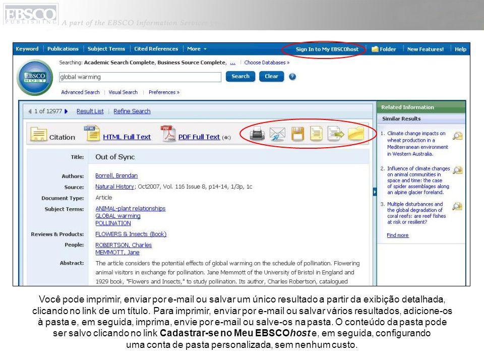 Você pode imprimir, enviar por e-mail ou salvar um único resultado a partir da exibição detalhada, clicando no link de um título.