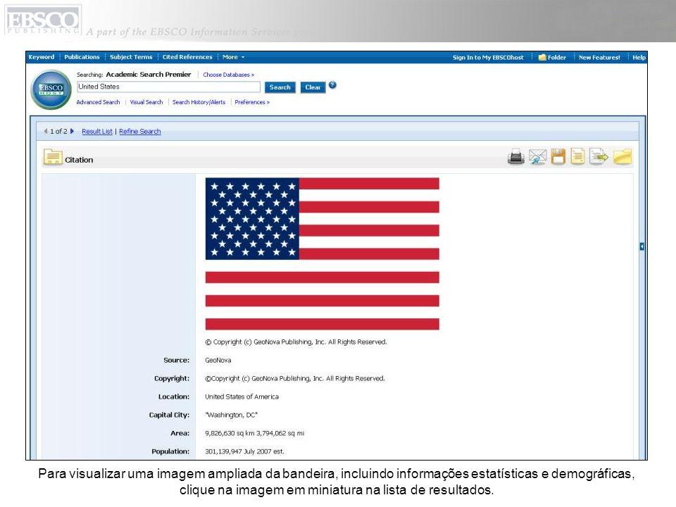 Para visualizar uma imagem ampliada da bandeira, incluindo informações estatísticas e demográficas, clique na imagem em miniatura na lista de resultados.