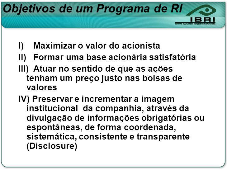 Objetivos de um Programa de RI I) Maximizar o valor do acionista II) Formar uma base acionária satisfatória III) Atuar no sentido de que as ações tenh