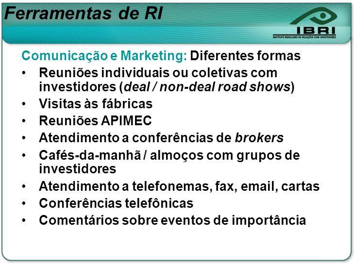 Comunicação e Marketing: Diferentes formas Reuniões individuais ou coletivas com investidores (deal / non-deal road shows) Visitas às fábricas Reuniõe