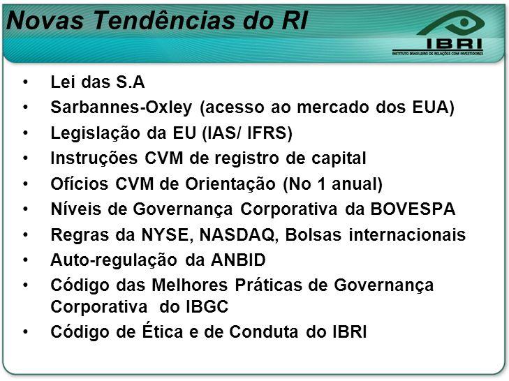 Novas Tendências do RI Lei das S.A Sarbannes-Oxley (acesso ao mercado dos EUA) Legislação da EU (IAS/ IFRS) Instruções CVM de registro de capital Ofíc