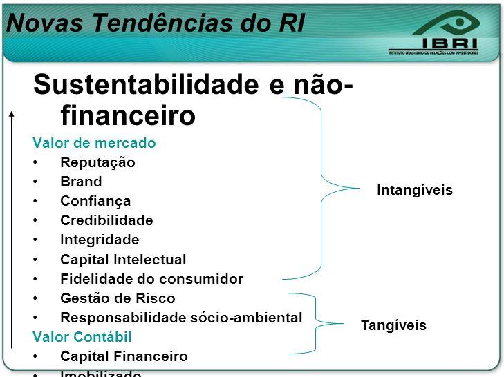 Novas Tendências do RI Sustentabilidade e não- financeiro Valor de mercado Reputação Brand Confiança Credibilidade Integridade Capital Intelectual Fid