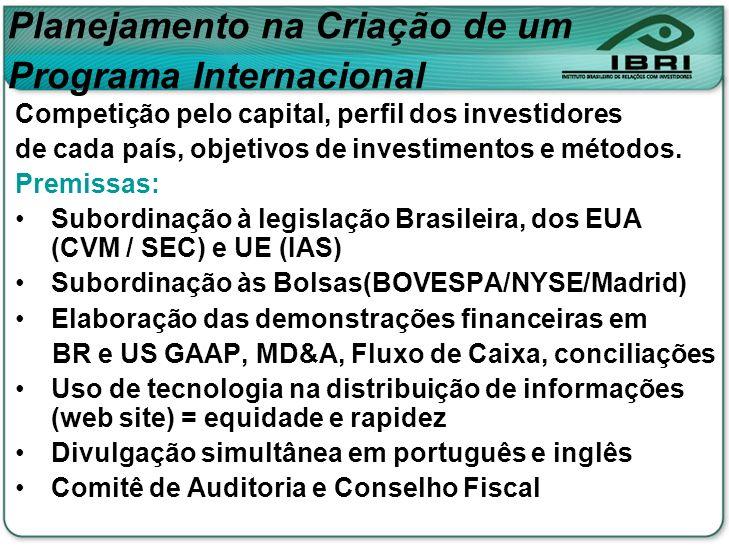 Competição pelo capital, perfil dos investidores de cada país, objetivos de investimentos e métodos. Premissas: Subordinação à legislação Brasileira,