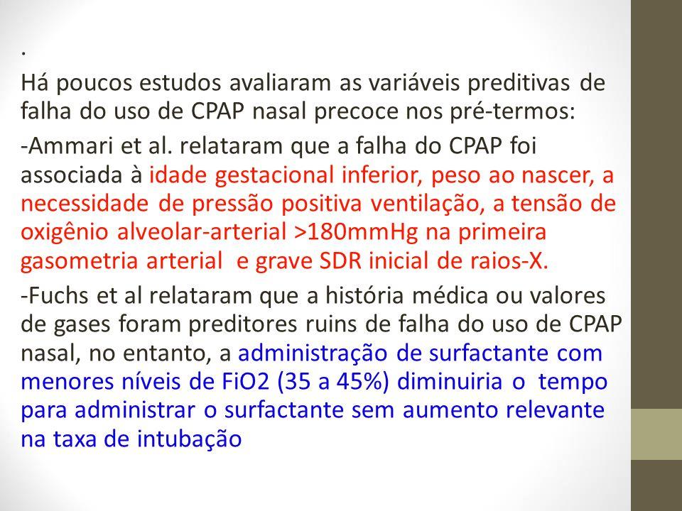 . Há poucos estudos avaliaram as variáveis preditivas de falha do uso de CPAP nasal precoce nos pré-termos: -Ammari et al. relataram que a falha do CP