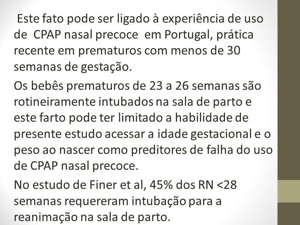Este fato pode ser ligado à experiência de uso de CPAP nasal precoce em Portugal, prática recente em prematuros com menos de 30 semanas de gestação. O