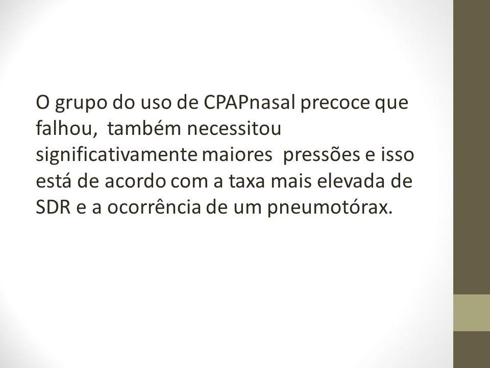 O grupo do uso de CPAPnasal precoce que falhou, também necessitou significativamente maiores pressões e isso está de acordo com a taxa mais elevada de