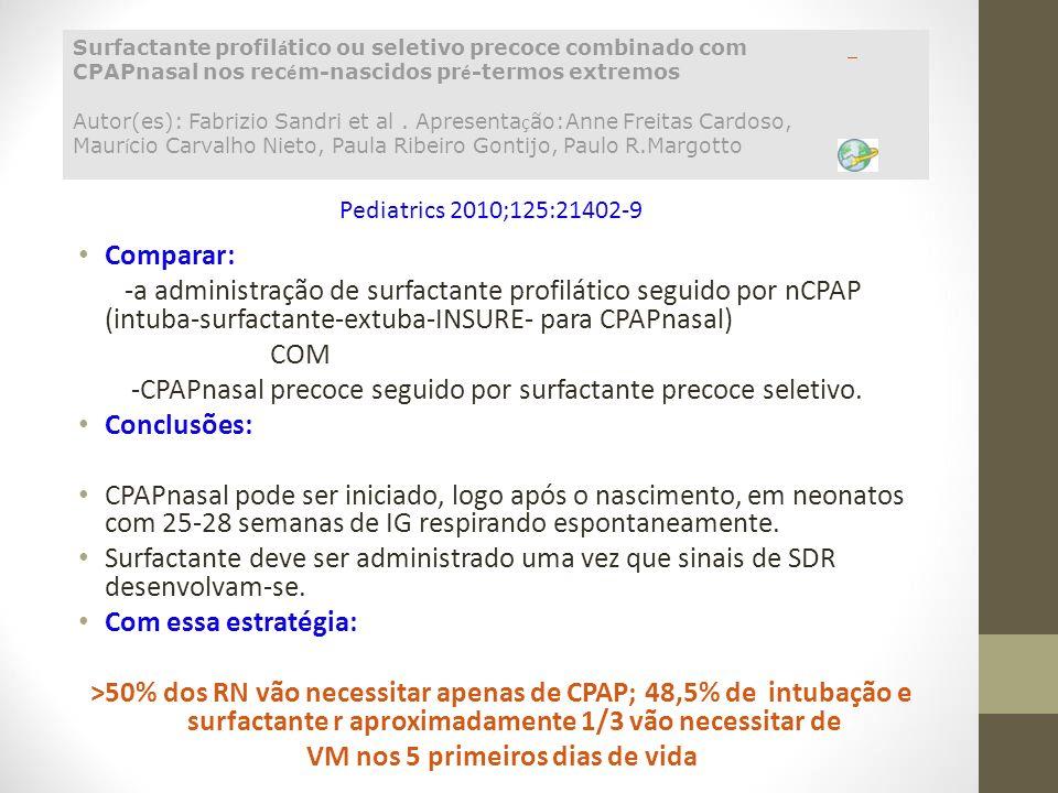 Comparar: -a administração de surfactante profilático seguido por nCPAP (intuba-surfactante-extuba-INSURE- para CPAPnasal) COM -CPAPnasal precoce segu