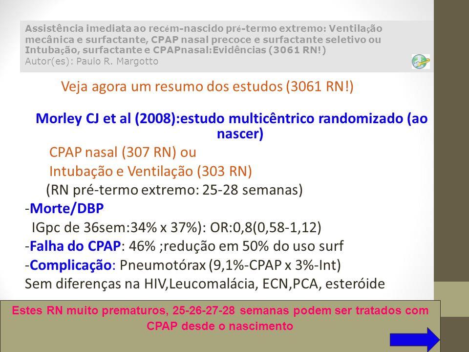 Morley CJ et al (2008):estudo multicêntrico randomizado (ao nascer) CPAP nasal (307 RN) ou Intubação e Ventilação (303 RN) (RN pré-termo extremo: 25-2