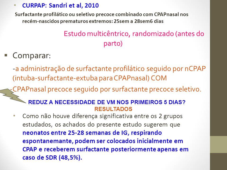 CURPAP: Sandri et al, 2010 Surfactante profilático ou seletivo precoce combinado com CPAPnasal nos recém-nascidos prematuros extremos: 25sem a 28sem6