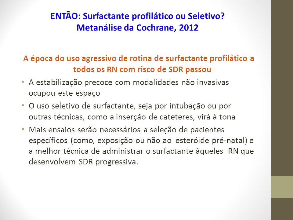 A época do uso agressivo de rotina de surfactante profilático a todos os RN com risco de SDR passou A estabilização precoce com modalidades não invasi