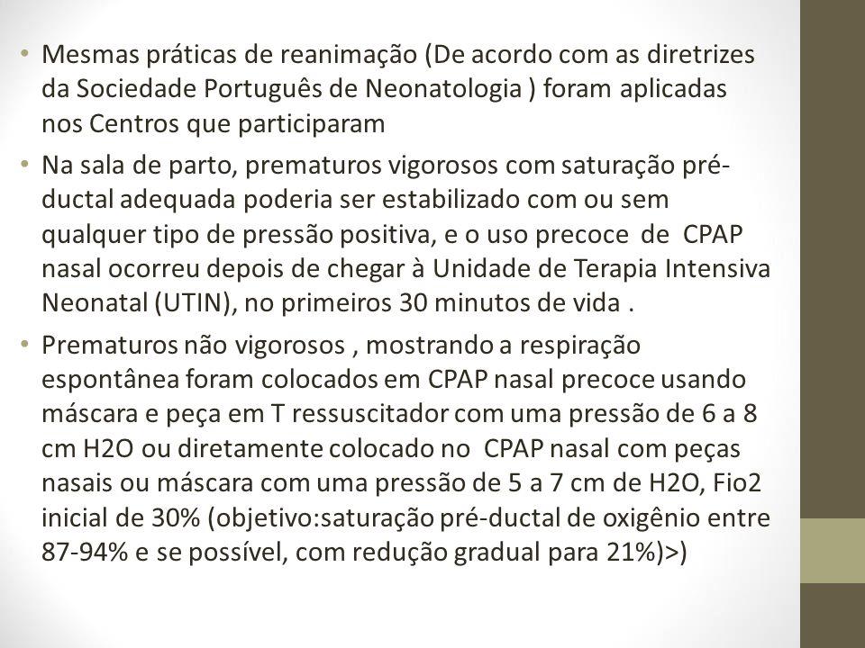 Mesmas práticas de reanimação (De acordo com as diretrizes da Sociedade Português de Neonatologia ) foram aplicadas nos Centros que participaram Na sa