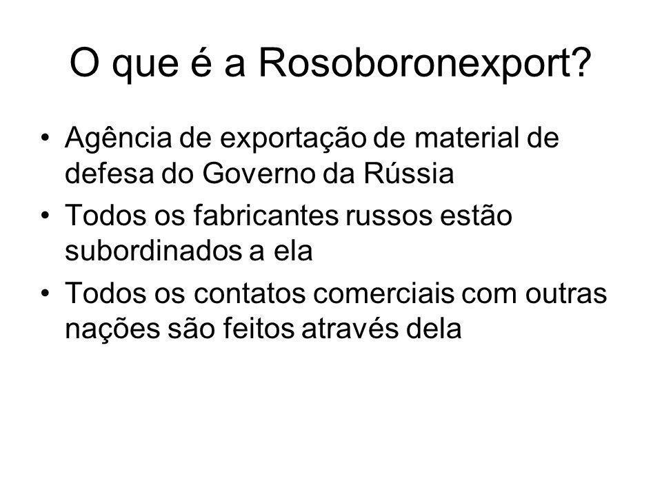 O que é a Rosoboronexport? Agência de exportação de material de defesa do Governo da Rússia Todos os fabricantes russos estão subordinados a ela Todos