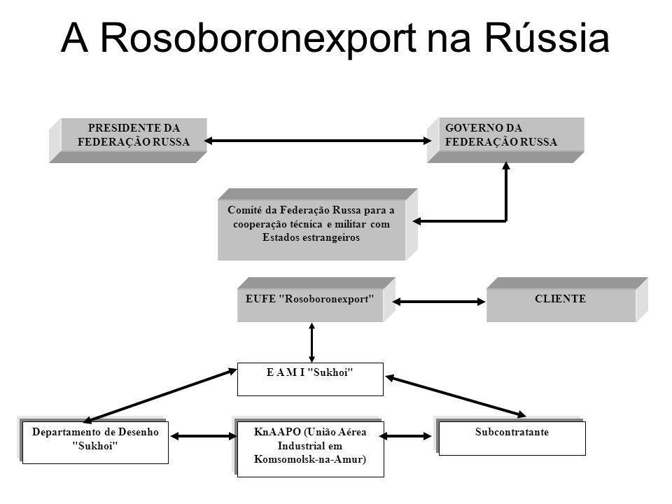 A Rosoboronexport na Rússia PRESIDENTE DA FEDERAÇÃO RUSSA SubcontratanteDepartamento de Desenho Sukhoi GOVERNO DA FEDERAÇÃO RUSSA KnAAPO (União Aérea Industrial em Komsomolsk-na-Amur) Comité da Federação Russa para a cooperação técnica e militar com Estados estrangeiros E A M I Sukhoi EUFE Rosoboronexport CLIENTE