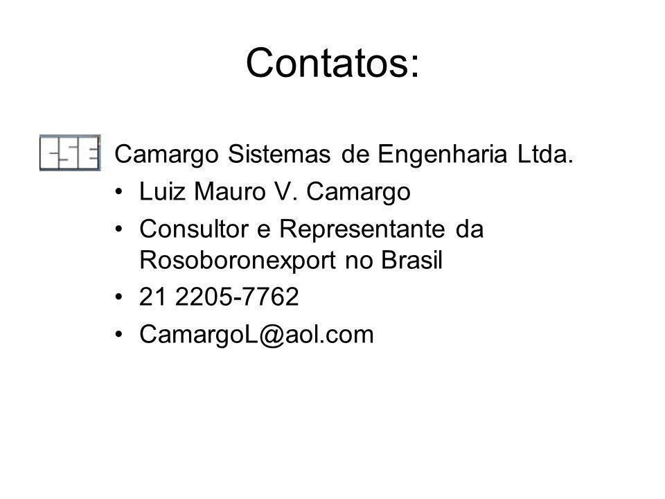 Contatos: Camargo Sistemas de Engenharia Ltda. Luiz Mauro V. Camargo Consultor e Representante da Rosoboronexport no Brasil 21 2205-7762 CamargoL@aol.