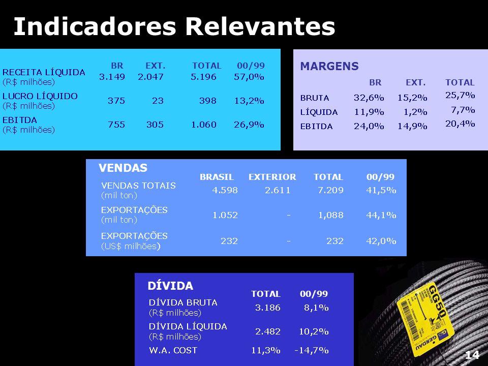 Indicadores Relevantes BREXT.TOTAL00/99 BRASILEXTERIORTOTAL00/99 VENDAS DÍVIDA TOTAL00/99 14 BR EXT.TOTAL MARGENS