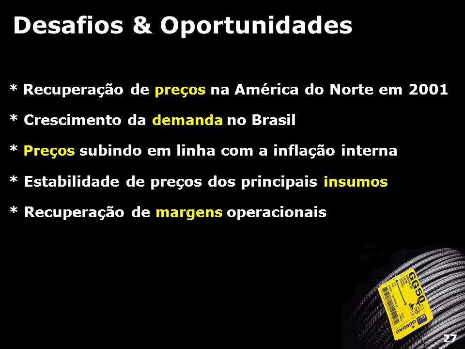 Desafios & Oportunidades * Recuperação de preços na América do Norte em 2001 * Crescimento da demanda no Brasil * Preços subindo em linha com a inflaç