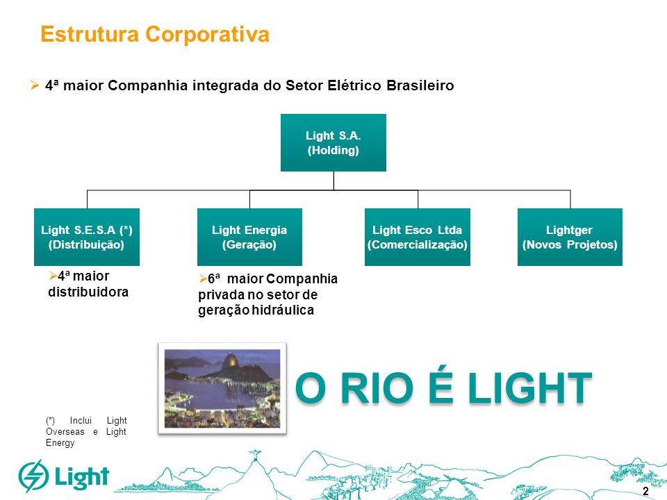 2 Estrutura Corporativa 4ª maior Companhia integrada do Setor Elétrico Brasileiro 6ª maior Companhia privada no setor de geração hidráulica 4ª maior d