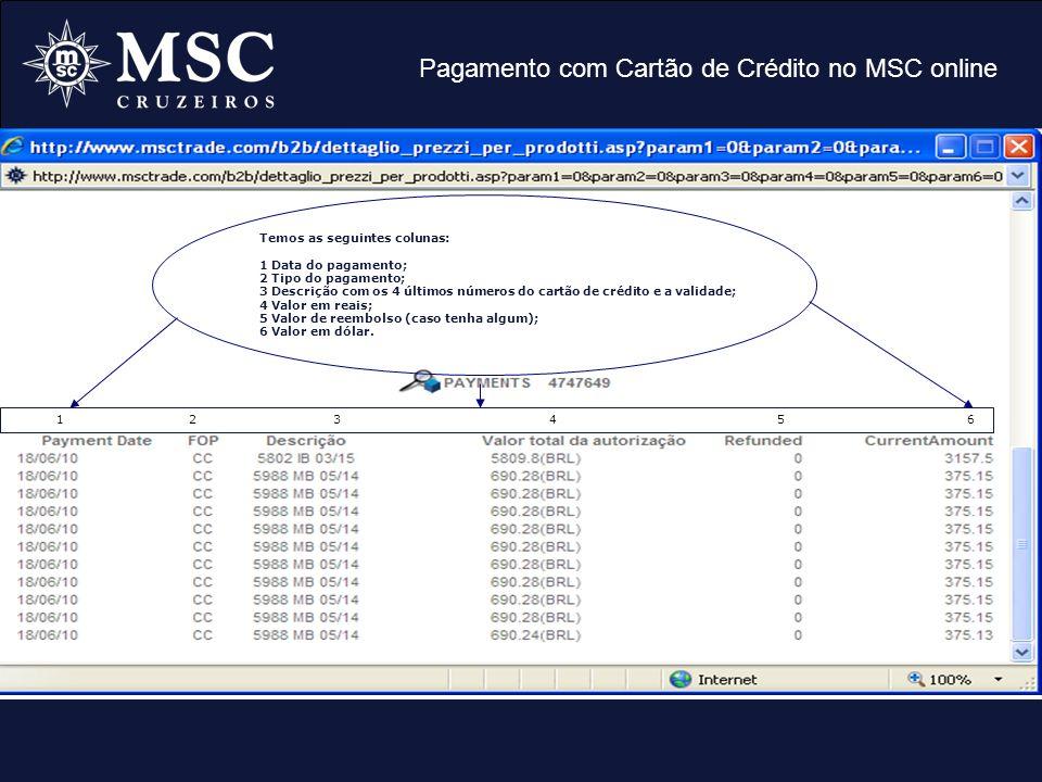 Pagamento com Cartão de Crédito no MSC online Temos as seguintes colunas: 1 Data do pagamento; 2 Tipo do pagamento; 3 Descrição com os 4 últimos númer