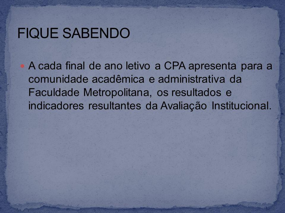 A cada final de ano letivo a CPA apresenta para a comunidade acadêmica e administrativa da Faculdade Metropolitana, os resultados e indicadores result