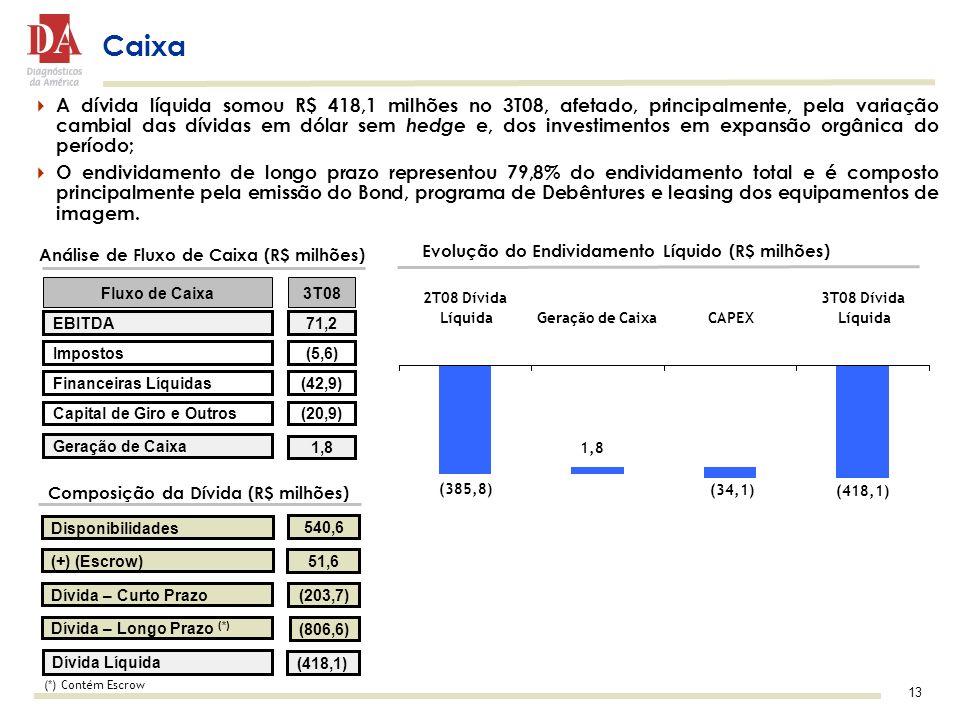 13 A dívida líquida somou R$ 418,1 milhões no 3T08, afetado, principalmente, pela variação cambial das dívidas em dólar sem hedge e, dos investimentos