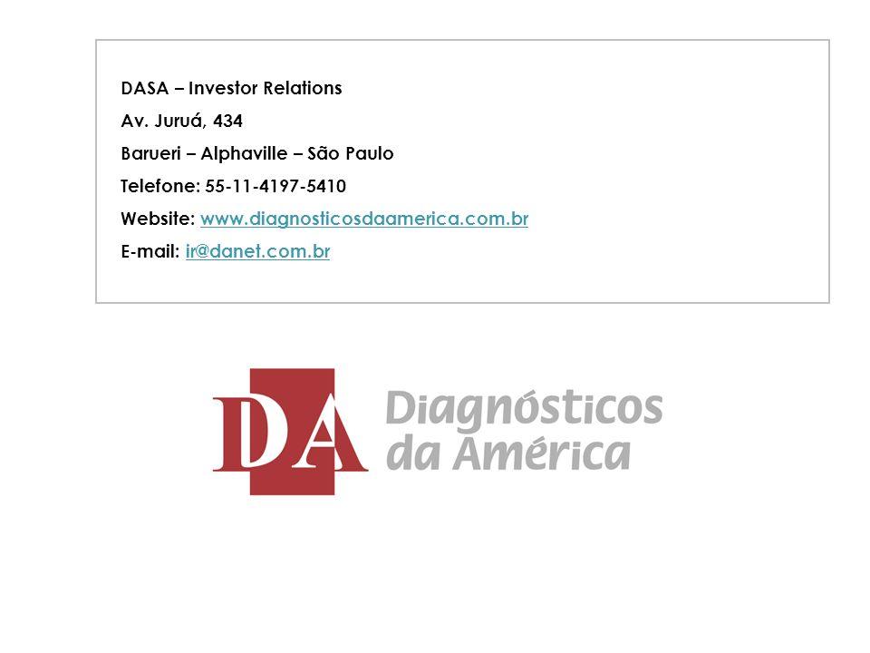 15 DASA – Investor Relations Av. Juruá, 434 Barueri – Alphaville – São Paulo Telefone: 55-11-4197-5410 Website: www.diagnosticosdaamerica.com.brwww.di