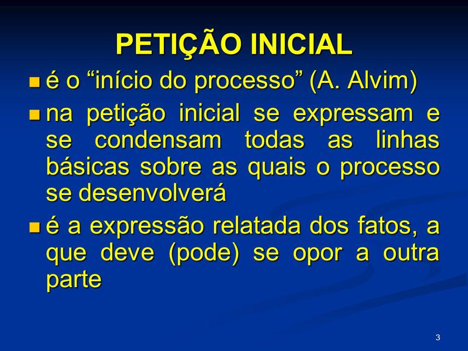 3 PETIÇÃO INICIAL é o início do processo (A.Alvim) é o início do processo (A.