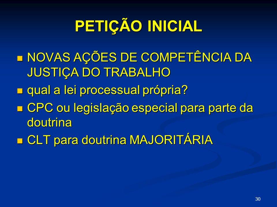30 PETIÇÃO INICIAL NOVAS AÇÕES DE COMPETÊNCIA DA JUSTIÇA DO TRABALHO NOVAS AÇÕES DE COMPETÊNCIA DA JUSTIÇA DO TRABALHO qual a lei processual própria.