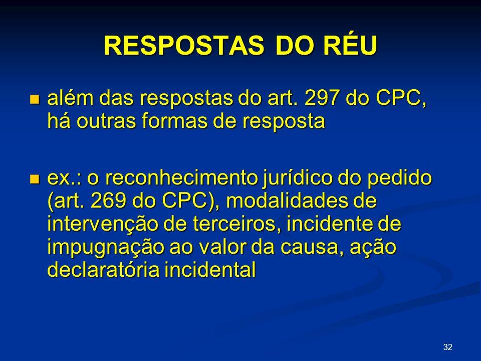 32 RESPOSTAS DO RÉU além das respostas do art.