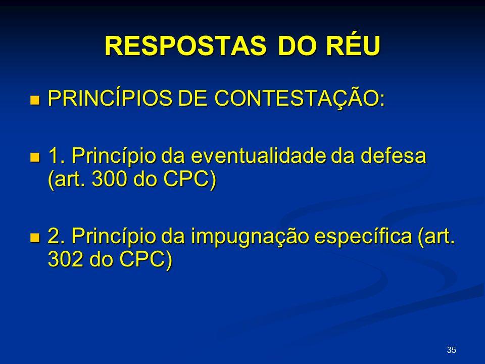 35 RESPOSTAS DO RÉU PRINCÍPIOS DE CONTESTAÇÃO: PRINCÍPIOS DE CONTESTAÇÃO: 1.