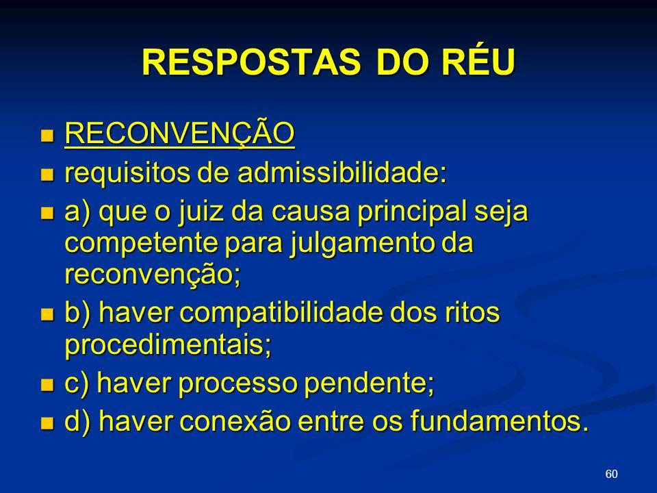 60 RESPOSTAS DO RÉU RECONVENÇÃO RECONVENÇÃO requisitos de admissibilidade: requisitos de admissibilidade: a) que o juiz da causa principal seja competente para julgamento da reconvenção; a) que o juiz da causa principal seja competente para julgamento da reconvenção; b) haver compatibilidade dos ritos procedimentais; b) haver compatibilidade dos ritos procedimentais; c) haver processo pendente; c) haver processo pendente; d) haver conexão entre os fundamentos.