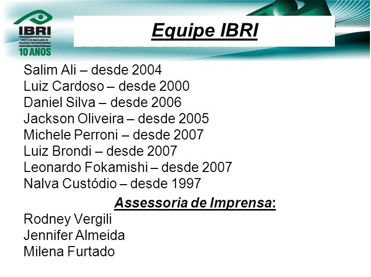 Equipe IBRI Salim Ali – desde 2004 Luiz Cardoso – desde 2000 Daniel Silva – desde 2006 Jackson Oliveira – desde 2005 Michele Perroni – desde 2007 Luiz