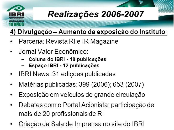 4) Divulgação – Aumento da exposição do Instituto: Parceria: Revista RI e IR Magazine Jornal Valor Econômico: –Coluna do IBRI - 18 publicações –Espaço