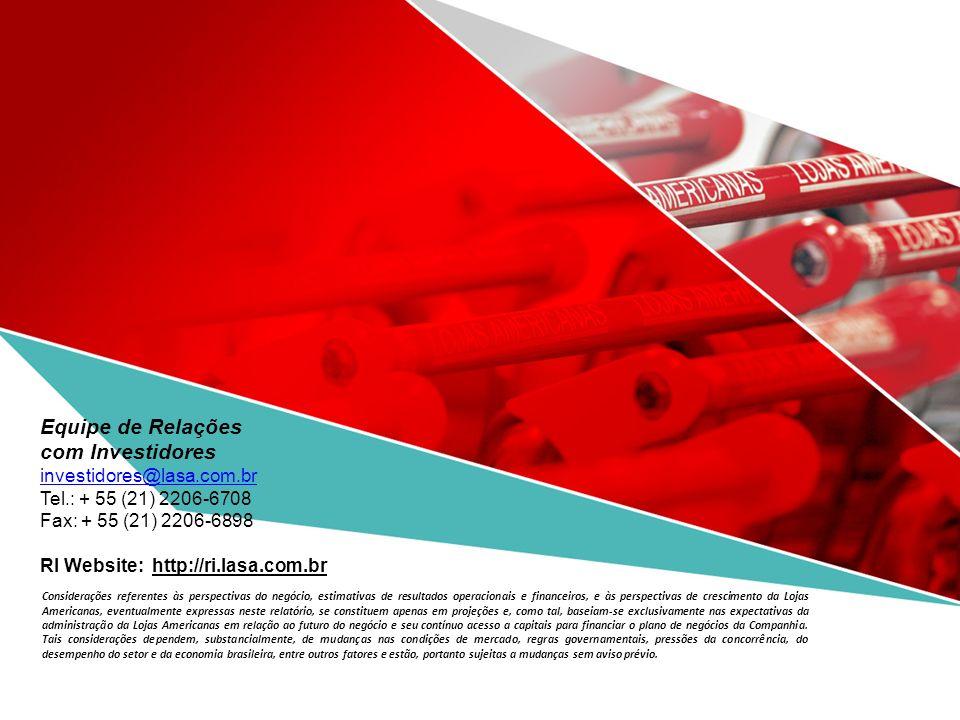 Teleconferência - Resultados 2T08 e 1S08 Equipe de Relações com Investidores investidores@lasa.com.br Tel.: + 55 (21) 2206-6708 Fax: + 55 (21) 2206-6898 RI Website: http://ri.lasa.com.br Considerações referentes às perspectivas do negócio, estimativas de resultados operacionais e financeiros, e às perspectivas de crescimento da Lojas Americanas, eventualmente expressas neste relatório, se constituem apenas em projeções e, como tal, baseiam-se exclusivamente nas expectativas da administração da Lojas Americanas em relação ao futuro do negócio e seu contínuo acesso a capitais para financiar o plano de negócios da Companhia.