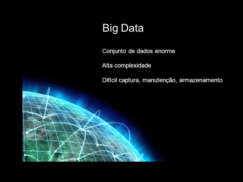 Big Data Conjunto de dados enorme Alta complexidade Difícil captura, manutenção, armazenamento