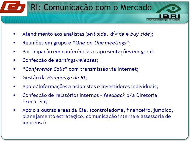 Atendimento aos analistas (sell-side, dívida e buy-side); Reuniões em grupo e One-on-One meetings; Participação em conferências e apresentações em geral; Confecção de earnings-releases; Conference Calls com transmissão via Internet; Gestão da Homepage de RI; Apoio/Informações a acionistas e investidores individuais; Confecção de relatórios internos - feedback p/a Diretoria Executiva; Apoio a outras áreas da Cia.