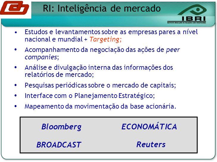 Estudos e levantamentos sobre as empresas pares a nível nacional e mundial + Targeting; Acompanhamento da negociação das ações de peer companies; Análise e divulgação interna das informações dos relatórios de mercado; Pesquisas periódicas sobre o mercado de capitais; Interface com o Planejamento Estratégico; Mapeamento da movimentação da base acionária.