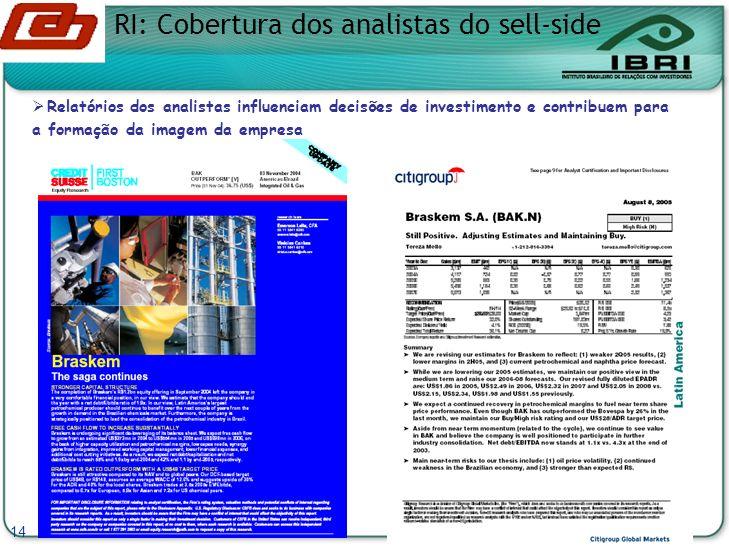 RI: Cobertura dos analistas do sell-side 14 Relatórios dos analistas influenciam decisões de investimento e contribuem para a formação da imagem da empresa