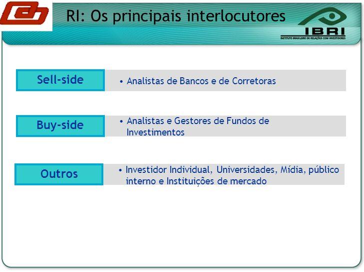 Analistas de Bancos e de Corretoras Analistas e Gestores de Fundos de Investimentos Buy-side Sell-side RI: Os principais interlocutores Investidor Individual, Universidades, Mídia, público interno e Instituições de mercado Outros