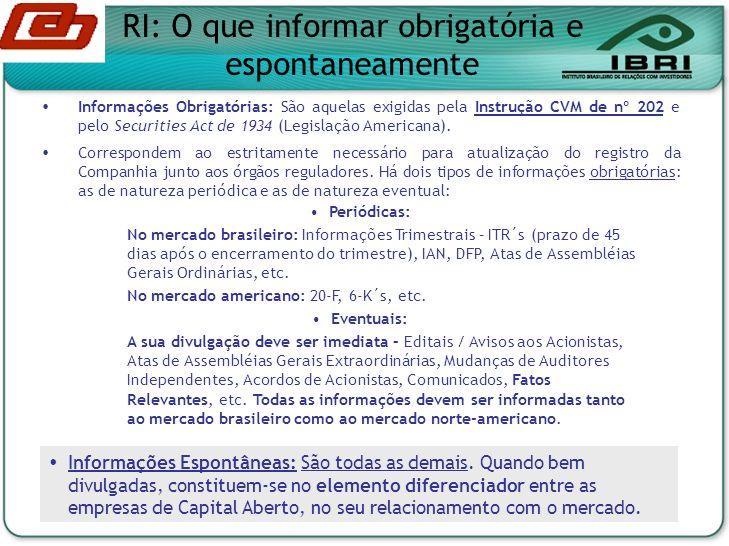 RI: O que informar obrigatória e espontaneamente Informações Obrigatórias: São aquelas exigidas pela Instrução CVM de nº 202 e pelo Securities Act de 1934 (Legislação Americana).