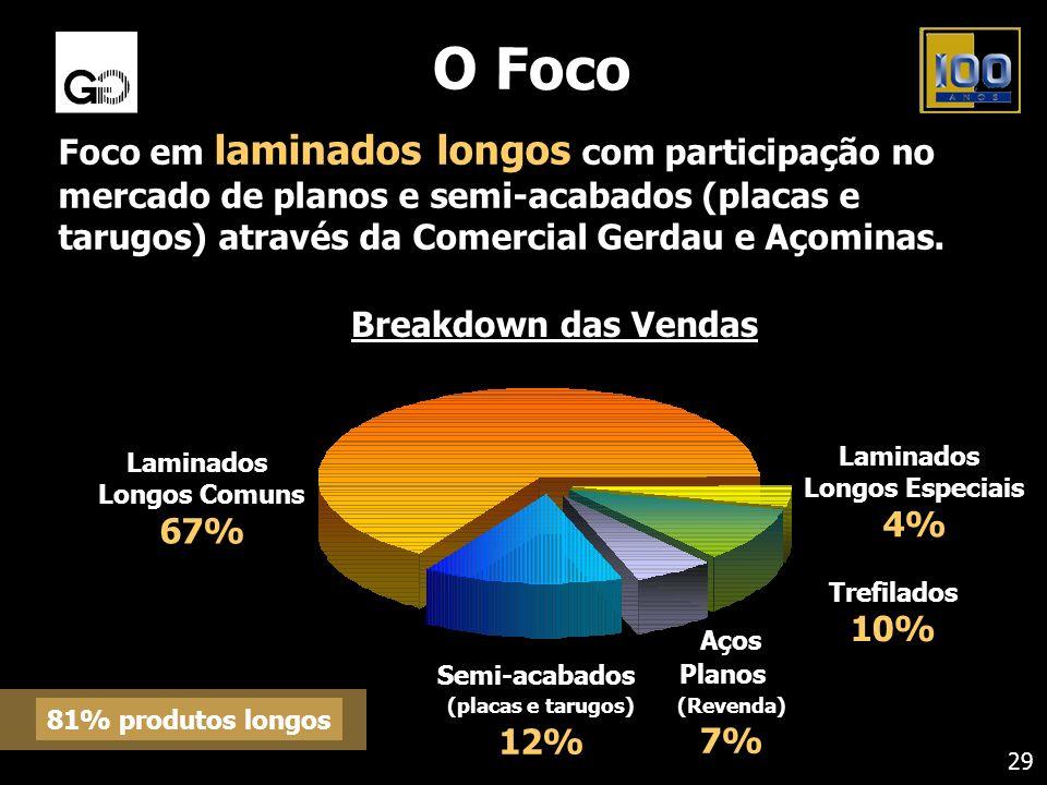 O Foco Foco em laminados longos com participação no mercado de planos e semi-acabados (placas e tarugos) através da Comercial Gerdau e Açominas. Lamin