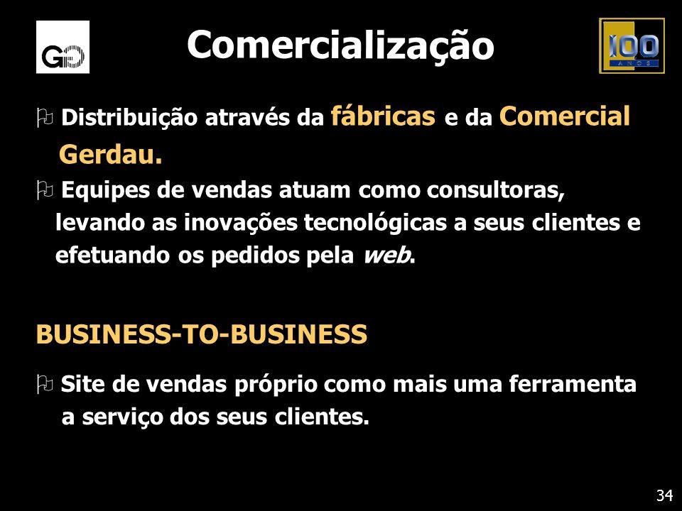 Comercialização O Distribuição através da fábricas e da Comercial Gerdau. O Equipes de vendas atuam como consultoras, levando as inovações tecnológica
