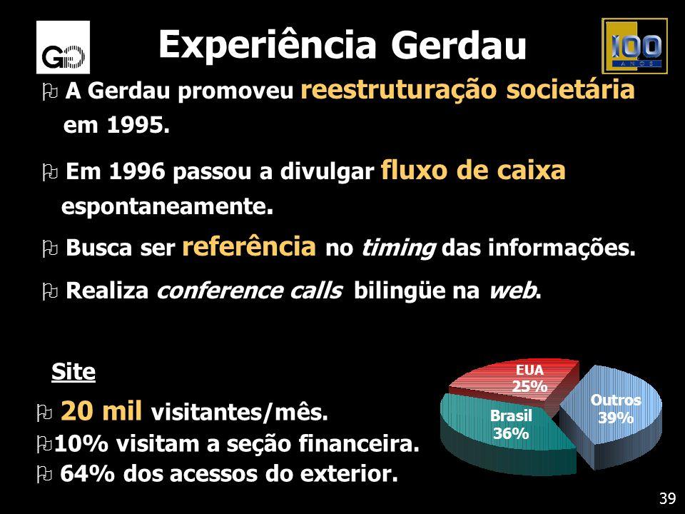 O A Gerdau promoveu reestruturação societária em 1995. O Em 1996 passou a divulgar fluxo de caixa espontaneamente. O Busca ser referência no timing da
