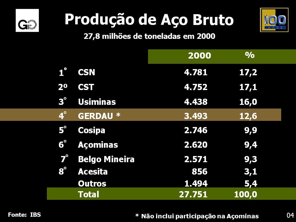 Produção de Aço Bruto 27,8 milhões de toneladas em 2000 2000 % * Não inclui participação na Açominas Fonte: IBS 04