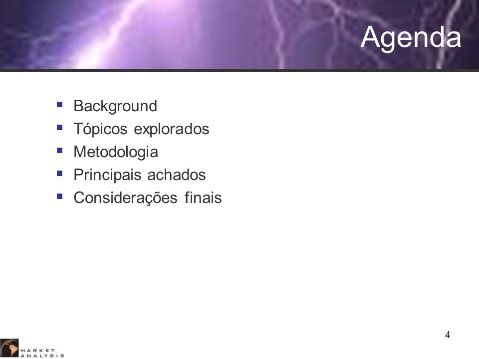 4 Agenda Background Tópicos explorados Metodologia Principais achados Considerações finais