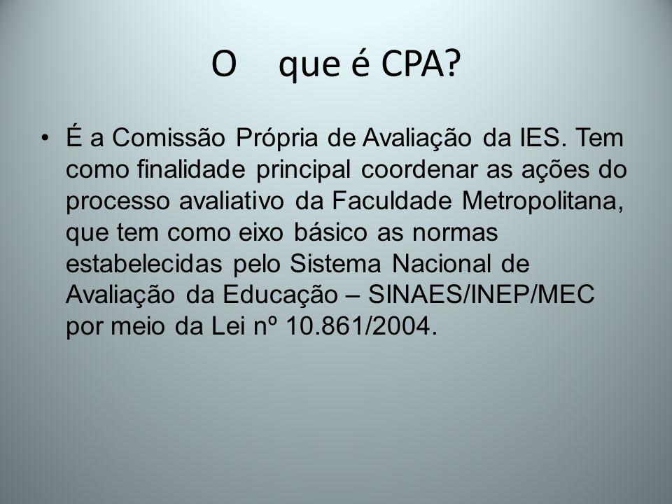 O que é CPA? É a Comissão Própria de Avaliação da IES. Tem como finalidade principal coordenar as ações do processo avaliativo da Faculdade Metropolit